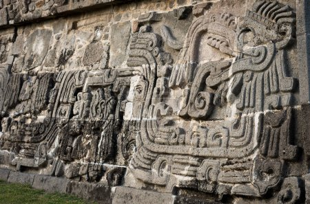 Temple of the Feathered Serpent in Xochicalco, Mexico.