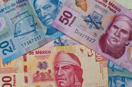 Different Mexican money banknotes.