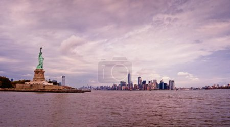 Photo for Statue of Liberty and Manhattan skyline panorama., New York City - Royalty Free Image