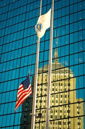 Flag of the USA outside building in Boston