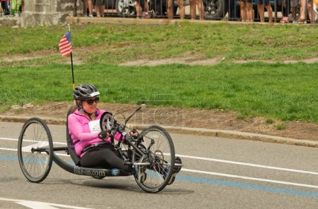 Wheelchair racing contestant at annual marathon