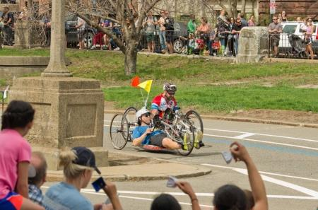 Wheelchair racing contestants at annual marathon