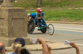 Wheelchair racing contestant at annual marathon