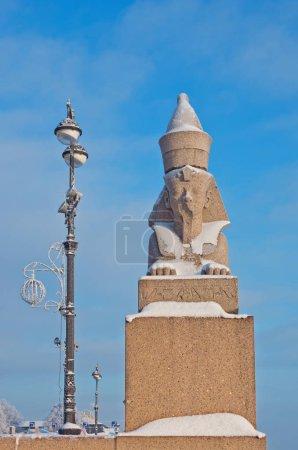 Egyptian sphynx on quay of the Neva river