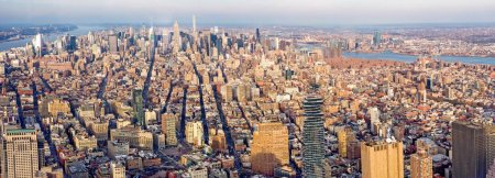 New York City Manhattan skyline panorama. Top view