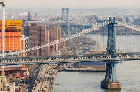 New York City, USA - December 13, 2016: View of Manhattan and Williamsburg Bridge. Cityscape of New York.