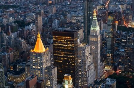 New York City at the night, Aerial view of Manhattan Skyline , USA