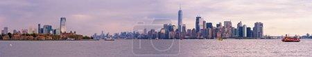 Ellis island and Manhattan skyline panorama, New York City