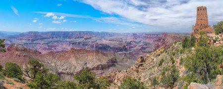 Watchtower at the desert view at Grand Canyon, USA. Panoramic viewPanoramic view