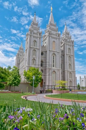 Salt Lake City, USA - May 19, 2017: Salt Lake Temple is a temple of The Church of Jesus Christ of Latter-day Saints (LDS Church) in Salt Lake City, Utah, USA