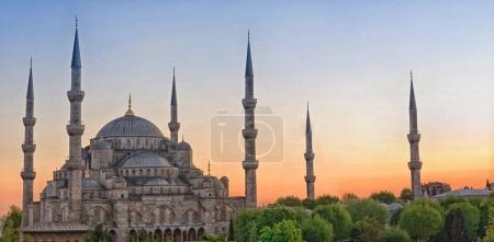 Sultan Ahmed Mosque known as the Blue Mosque during sunset, in Istanbul. Turkey