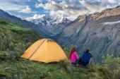 Camping in the Peruvian Andes. Salkantay Trekking, Peru.