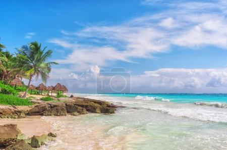 Tropical Sandy Beach on Caribbean Sea. Yucatan, Mexico.
