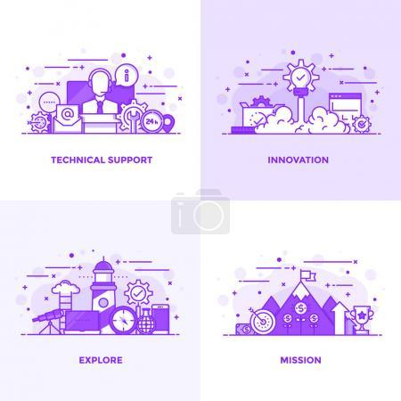 Illustration for Modern Flat Purple color line designed concepts icons for Technical Support, Innovation, Explore and Mission. Can be used for Web Project and Applications. Vector Illustration - Royalty Free Image