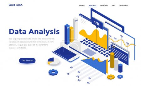 Illustration for Modern flat design isometric concept of Data Analysis for website and mobile website. Landing page template. Easy to edit and customize. Vector illustration - Royalty Free Image