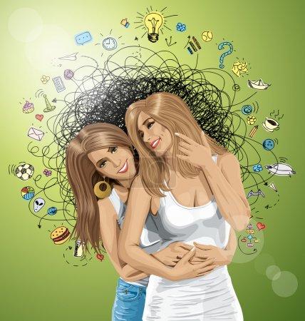 Illustration pour Deux femmes heureuses européennes, couple de lesbiennes, illustration vectorielle - image libre de droit