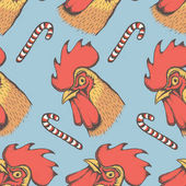 Vector illustration of head of rooster with lollipops seamless pattern