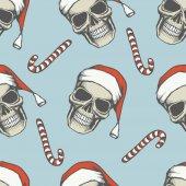Vector illustration design of skulls and lollipops Seamless pattern