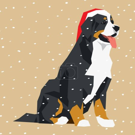 Bernese mountain dog in Santa hat