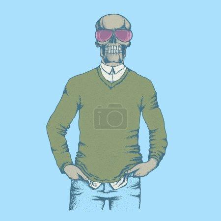 Hand drawn Skull human in sweatshirt, Vector illus...
