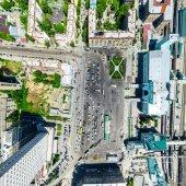 """Постер, картина, фотообои """"Воздушный город вид. Городской пейзаж. Вертолет выстрел. Панорамное изображение."""""""