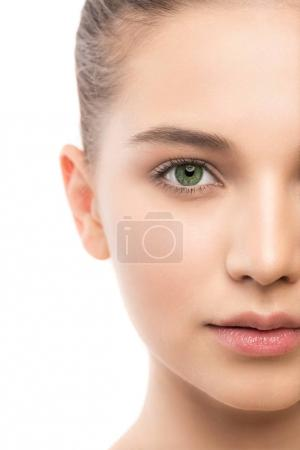 Photo for Portrait of beautiful young brunette woman with clean face. Beauty spa model girl with perfect fresh clean skin. Looking at camera and smiling. Youth and skin care concept. Isolated on a white - Royalty Free Image