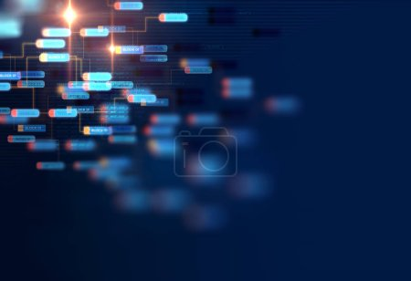 Photo for Block chain network and programming concept on technology background - Royalty Free Image