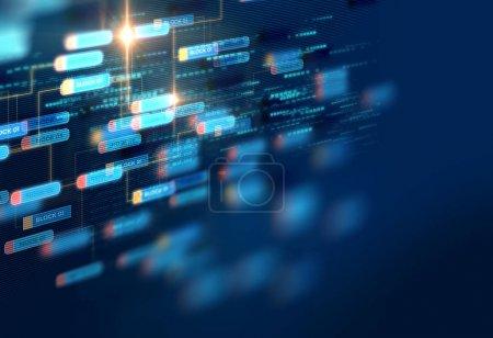 Photo pour Réseau de chaînes de blocs et concept de programmation sur fond de technologie - image libre de droit