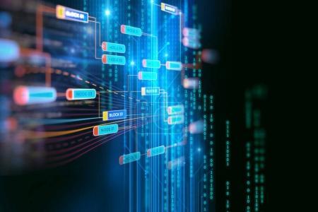 Photo pour Réseau de chaînes de blocs et concept de programmation sur backgroun technologique - image libre de droit