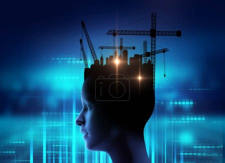 Photo pour Image double exposition de grue humaine virtuelle et de construction sur fond de technologie d'ingénierie, illustration 3D - image libre de droit