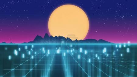 Photo pour Illustration 3d du style rétro fond futuriste des années 1980. Paysage numérique dans un cyber-monde. Pour servir de couverture de l'album musique. - image libre de droit