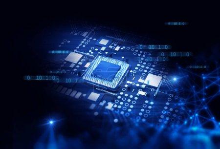 Photo pour Illustration de fond de circuit imprimé bleu futuriste de rendu 3d - image libre de droit