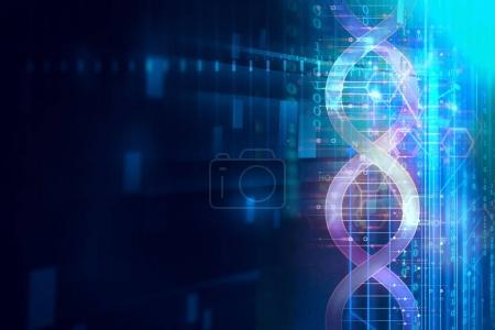 Photo pour Molécules d'ADN sur fond de technologie abstraite, concept de biochimie et théorie génétique - image libre de droit