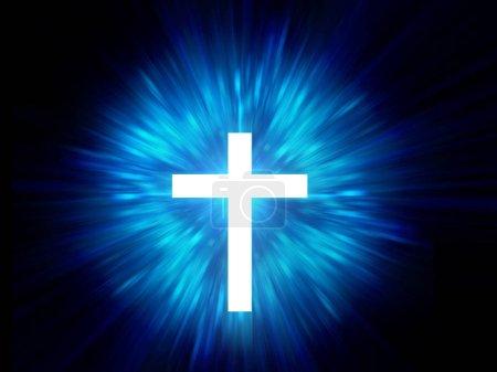 Photo pour Croix blanche sur fond clair rayon bleu. Alchimie, religion, philosophie, astrologie et - image libre de droit