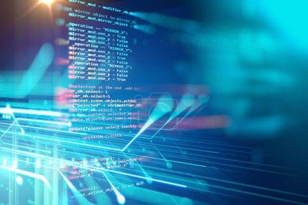 Photo pour Programmation de code technologie abstraite fond de développeur de logiciels et de certificats de l'ordinateur - image libre de droit