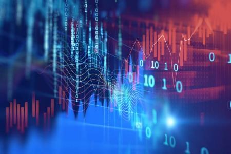 Photo pour Marché financier graphique sur fond abstrait de technologie - image libre de droit