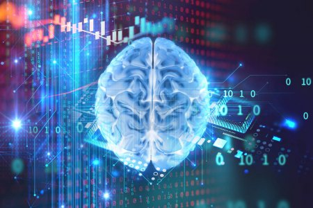 Photo for Digital human skull and cpu represent  danger of cyber criminal,hacker and proccessor memory leak 3dillustration - Royalty Free Image