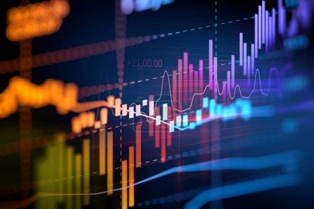 Foto de Financiero gráfico en tecnología fondo abstracto representan crisis financiera financiera meltdow - Imagen libre de derechos