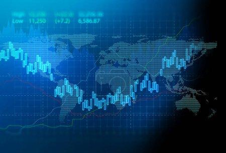 Photo pour Bourse financière, illustration graphique, concept d'investissement des entreprises et négociation d'actions futures - image libre de droit