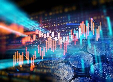 Photo pour Bitcoin et Bloquer la chaîne concept de réseau sur fond graphique financier Illustration 3d - image libre de droit