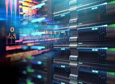 3D illustration of super computer server racks in ...