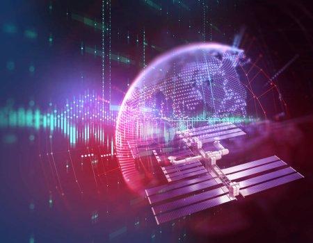 Photo pour Illustration 3D des données de transmission par antenne parabolique sur la technologie abstraite - image libre de droit