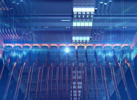 Foto de Red Ethernet los Cables conectados a Internet servidor 3d ilustración concepto de minería - Imagen libre de derechos