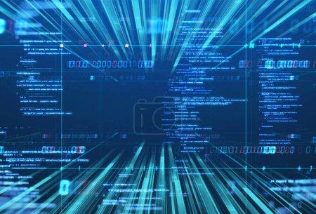 Photo pour Lignes de vitesse de la lumière et des rayures sur fond de technologie représentent la science et la technologie concéder - image libre de droit