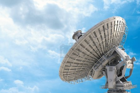 3d rendering satellite dish with blue sky backgrou...