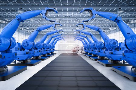 Photo pour Bras robotisés de rendu 3d avec ligne de convoyeur en usine - image libre de droit