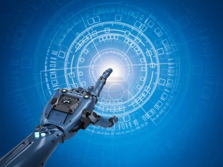 Photo pour Rendement 3d main robotique travaillant avec graphi virtuel - image libre de droit