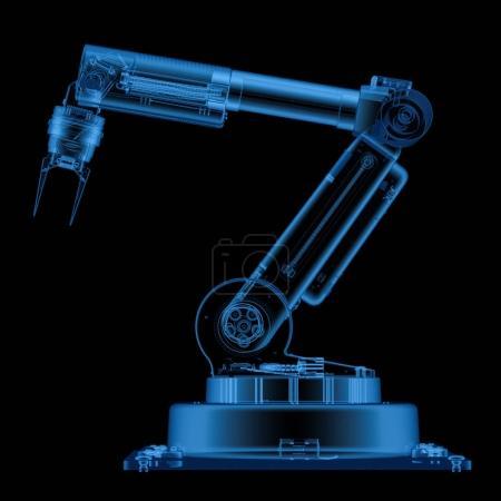 Photo pour Bras robot rendu 3d isolé sur noir - image libre de droit