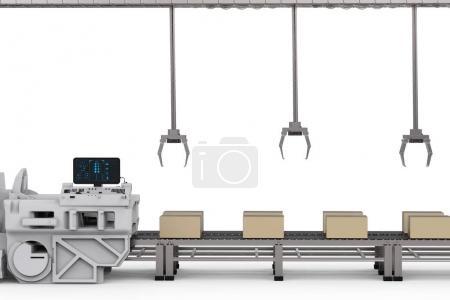 Photo pour Bras de robot de rendu 3d avec boîtes sur convoyeur en usine - image libre de droit