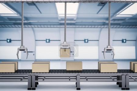 Photo pour Bras de robot de rendu 3D fonctionnant avec des boîtes en carton - image libre de droit